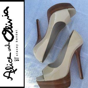 Alice & Olivia platform stiletto pumps leather